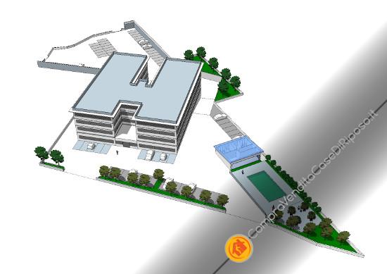 terreno con progetto per RSA in vendita a Roma - assonometria esterna